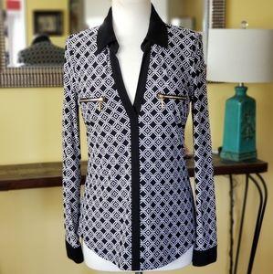 INC Long Sleeve Collar Top/Tunic Size Medium
